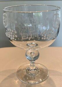 Rare Steuben Signed Bernard X. Wolff Engraved Judaica Kiddush Seder Chalice Cup