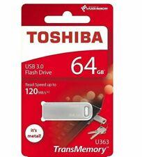 Toshiba 64GB SLIM FIT METAL USB Memory Stick Flash Pen Drive Small USB 3.0 2.0
