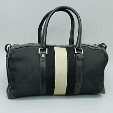 GUCCI GG Pattern Canvas Webbing Sherry Line Hand Bag Purse Black 000 0846 002113