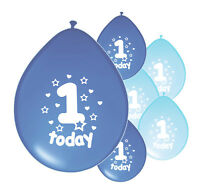 "10 X 1ST BIRTHDAY BOY BALLOONS ""1 TODAY"" FIRST BIRTHDAY BALLOONS BLUE MIX"