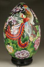 unique antique big enamels cloisonne hand painting phoenix egg statue ornament