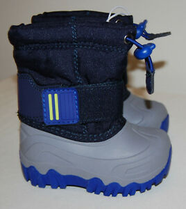 NWOB Cat & Jack Toddler Boys Navy Blue & Gray Snow Boots sz 4