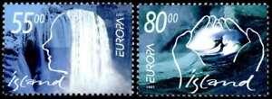 Iceland 2001 Europa, Water, Waterfall & Waves, MNH / UNM