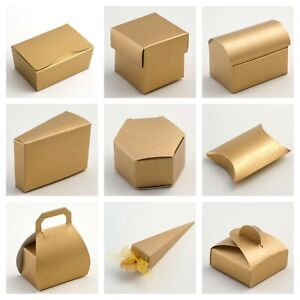 Gold Silk Wedding Favour Boxes and Ballotins - Luxury DIY Party Gift Box Only