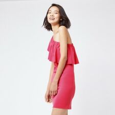 Warehouse One Shoulder Crepe Frill Dress Size 16 Uk BNWT RRP £42.99 Pink