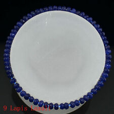 Jade Gems Abacus Beads Bracelet 7.5'' Natural 2x4mm Faceted Lapis Lazuli Blue