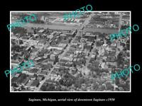 OLD LARGE HISTORIC PHOTO OF SAGINAW MICHIGAN, AERIAL VIEW OF THE TOWN 1950