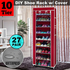 10 Tier 27 Pairs Shoe Rack Cabinet Storage Organiser Stand + Red Dustproof Cover