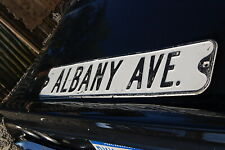 Vintage Street Sign Albany Ave Old Antique Embossed Metal 1930's 30's Decor