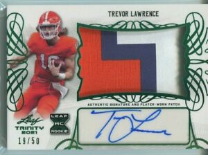 Trevor Lawrence 2021 Leaf Trinity Rookie Patch Autograph Green 19/50 Auto RC