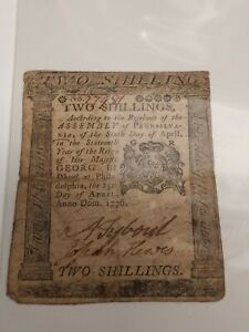 1773 Pennsly. $2.00 Colonial Currency! Cool historical note... ROUGH AND RARE!!