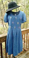 90s Hip Vintage Light Denim Jean Baby Doll Dress True Blue Sz M Flower