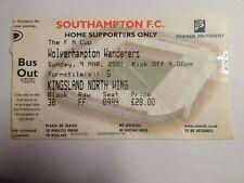 Southampton FC - Wolverhampton Wanderers - 09/03/2003 - Ticket football