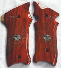 RUGER MKII & MKIII GRIPS W/MEDALLIONS AND EAGLE WINGS COCOBOLO ROOT WOOD R-52