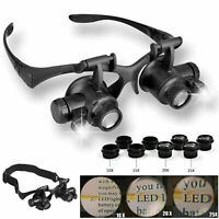 Lens Magnifier Magnifying Eye Glass Loupe Jeweler Watch Repair with LED Light @