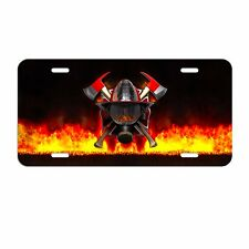 Firefighter Fire Department Helmet Maltese Cross License Plate tag METAL LF004