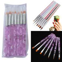 7X Nail Art Pen Brush UV Gel Acrylic Painting Drawing Liner Polish Brushes Tips