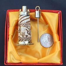 Huge Tibetan Brass Yak Bone Carved 2 Elephant Spoon Snuff Bottle Amulet Pendant