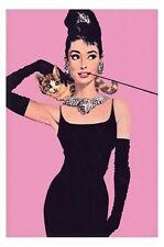 Audrey Hepburn POSTER 61x91cm NEW black dress cat pink vintage-look hollywood