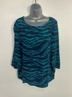 WOMENS NEXT SIZE UK 12 BLUE MIX CASUAL 3/4 SLEEVE CREW NECK SHIRT BLOUSE TOP
