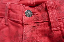 EXCELLENT  SIWY  HANNAH  RED PATTERNED COTTON SKINNY JEANS  Size 24  28L UK 4
