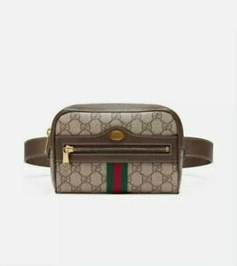Authentic GUCCI BROWN OPHIDIA GG SUPREME BELT BAG Canvas Size 85