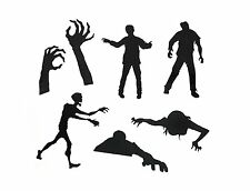 Black Zombie Action Stickers - Mustard Peel off Fun Novelty Low Tack Vinyl