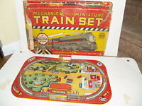 Vintage Marx Mechanical Miniature train set tin litho board and box