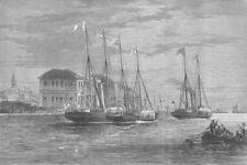 BELGIUM. Shah of Iran Leaving Ostend, antique print, 1873