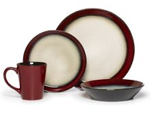Round Red 32 Piece Dinnerware Set Service for 8 Plates Dish Dishes Bowls Cup Mug