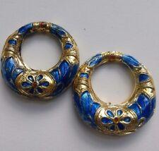 2 CLOISONNE Hoop Boucles d'oreille/Pendentif Perles, bleu/or, 25 mm. Bijoux/Bead Crafts