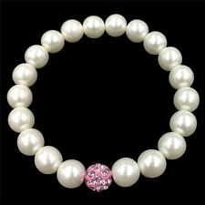 Fashion Woman White Olivet Round Real Cultured Freshwater Pearl Bracelet