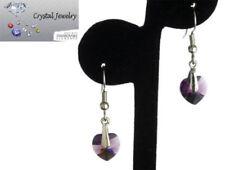 Earring Purple Amethyst Crystal dangle White Goldplate Swarovski Stones