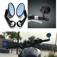 "Black Motorcycle bike 7/8"" Bar End Rear Side View Mirrors Cafe Racer Anti-glare"