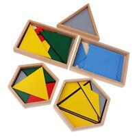 Wood Children Montessori Educational Math Learning Toys Contructive Triangle