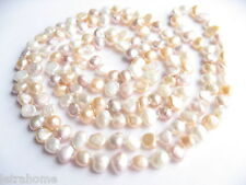 Multicolour White Pink Lavender Freshwater Baroque Pearl 120cm Long Necklace