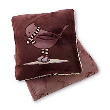 Cannon Winter Bird Print Microplush Pillow & Throw Gift Set Burgundy Red #2176