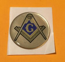 MASON MASONIC LODGE TEMPLE GOLD BLUE 2 INCH EPOXY DOME CAR DECAL STICKER EMBLEM