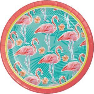 Hawaiian Luau Party Island Oasis Flamingo 7 Inch Paper Plates 8 Pack Luau Decor
