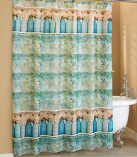 Country Cottage Floral Shower Curtain Fabric Ball Canning Jar Vase Print Borders