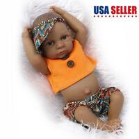 """11"""" African American Reborn Baby Boy Doll Full Vinyl Newborn Baby Dolls Lifelike"""