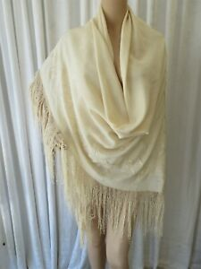 ANTIQUE 1920's SILK EMBROIDERED PIANO SHAWL HAND KNOTTED FRINGE ..IVORY