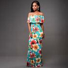 Floral femmes robe maxi longue Boho épaule découverte moulant été soirée