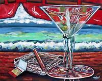Cigar Man Cave Babe Beach Martini Original Art Painting Modern DAN BYL 4x5ft