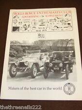 ROLLS ROYCE ENTHUSIASTS CLUB ADVERTISER #26 - MAY 1979