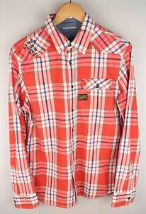 G-Star Raw Denim Rodger Check Men Casual Shirt Red Cotton size M