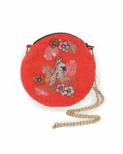 Powder UK Cockatoo Bird Pink Embroidered Velvet Bag - Free Gift bag NEW