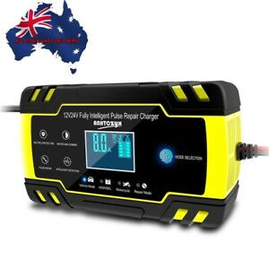 12V/24V Smart Car Battery Charger Touch LCD Boat Caravan Truck Battery Repair AU