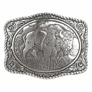 Nocona Mens Buffalo Rectangle Belt Buckle 38058