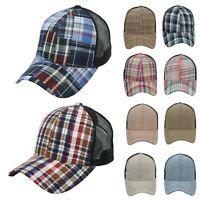 Baseball Cap Mesh Hat  Fashion Casual Plaid Check Snapback Trucker Hats